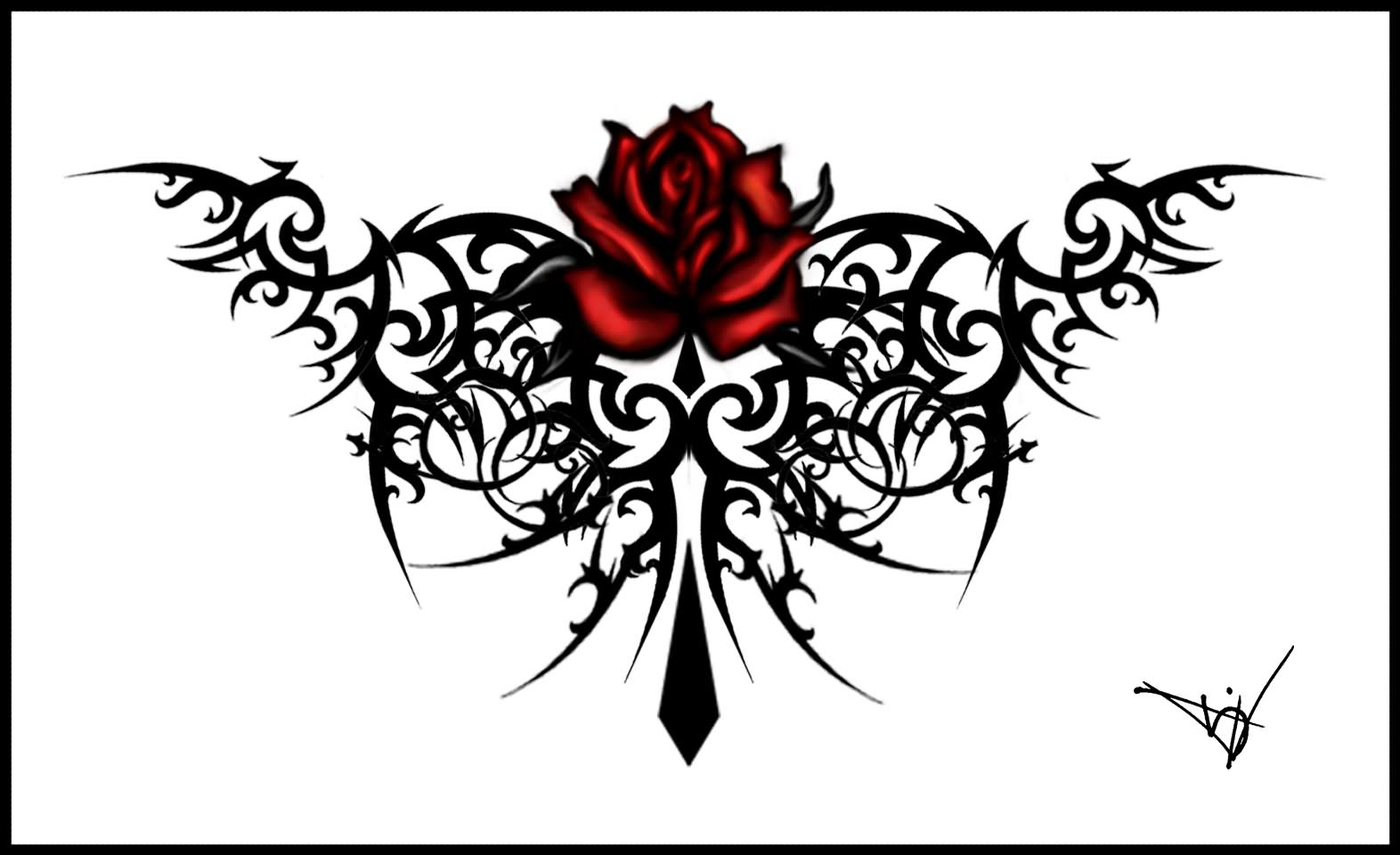 Name:  Tribal-Cross-And-Gothic-Rose-Tattoo-Design-Idea.jpg